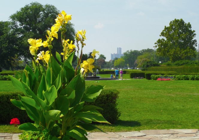 Detroit skyline from Belle Isle gardens